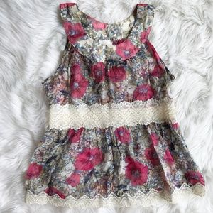 Anna Sui for Anthro Silk Floral Tank Blouse o902